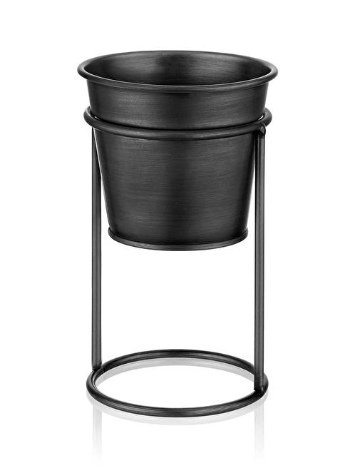 The Mia Çiçeklik Ayaklı 21 Cm - Siyah Siyah